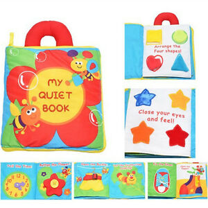 Babies Toddler Travel Toy MY QUIET Activity Cloth Book Button Shoe Lacing Zip