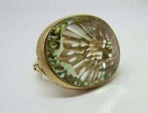 Pomellato 18 Karat Gold Light Green Praiseolite Quartz Ring size 6.75
