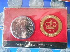2011 Royal Wedding 50c Fifty Cent Catherine & Prince Willam Coin