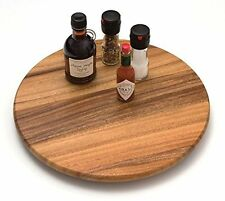 Lazy Susan Kitchen Turntable 360 Vintage Retro 16in Storage AcaciaWoodWooden