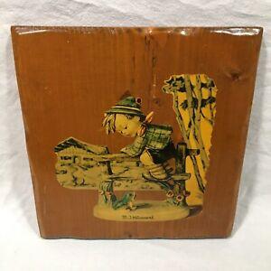 M J Hummell Handmade Wooden Glazed Decoupage Plaque Retreat To Safety Vtg 1970s