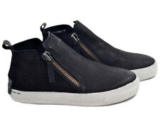 CRIME London Women's NERO DONNA LEATHER HIGH-TOP w/SIDE-ZIP SHOES - 40 / 8.5-9