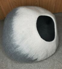 Grey Ombre Cat Cave Bed Cat Bed Pet Bed Felted Wool
