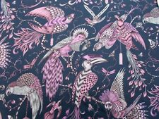 "CLARKE /& CLARKE BY EMMA J SHIPLEY CURTAIN FABRIC  /""Audubon/"" 3.6 mtr PINK COTTON"