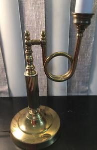 Vintage Bouillotte Adjustable French Horn Brass Table Lamp Swivels