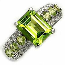 Elegant Size 7 Band Green Peridot 18K Gold Filled AAA Engagement Ring For Womens
