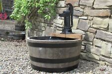 Self contained Oak Barrel Water Feature - 63cm diameter with pitcher pump