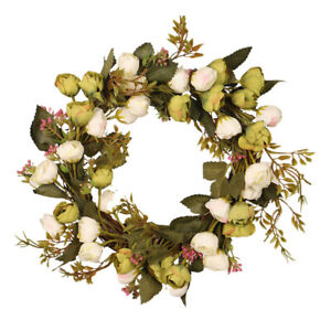 """2x 12"""" Peony Artificial Rose Flower Wreath for Front Door Wall Window Party"""