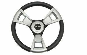 Gussi Brushed Aluminum & Black Steering Wheel for Club Car Precedent Golf Carts
