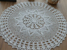 "23"" Round Hand Crochet White Doily Floral Table Cloth Centerpiece Runner"