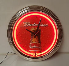 Neon Clock Budweiser Beer Red Man Cave Bar Liquor advertising sign