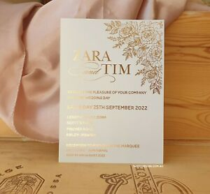 Wedding INVITATIONS Birthday invitation x30 card christening invites gold