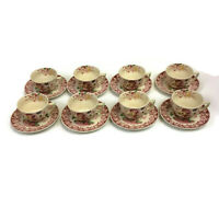 Royal Doulton Pomeroy Red Set of 8 Large Tea Coffee Cup and Saucer Sets