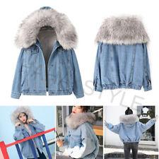 Women Winter Warm Denim Jacket Hooded Faux Fur Collar Thick Trucker Jeans Coat