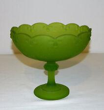 "Vintage Indiana Glass Frosted Green Pedestal Bowl Garland Design 7-1/2"" T"