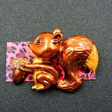 Betsey Johnson Brown Enamel Cute Squirrel Crystal Charm Brooch Pin Gift