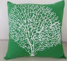 Hamptons White Painterly Coral on Lush Green Cotton Cushion Cover 45cm