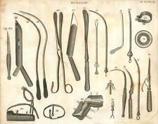 1802  Surgical Instruments Gorget Catheter Canula Bandage etc Copperplate