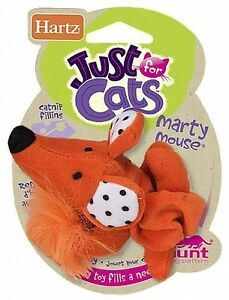 Hartz AT PLAY  MARTY MOUSE Plush Cat Teaser Toy w/ Bell and Feather.