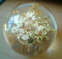 Gold Dried FLORAL ART Posy Resin PAPERWEIGHT 3""