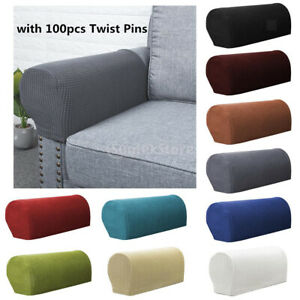 1 Pair Flannel Sofa Arm Armrest Covers Protectors + 100Pcs Bed Skirt Pins