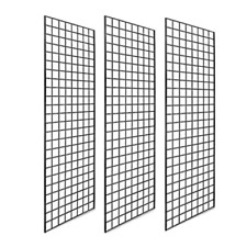 Gridwall Panels Retail Display Industrial Durable 72x24 Inch Black Wires 3 Pack