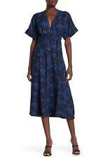 Equipment Femme Womens 10 Nauman Tie Waist Midi Dress Blue Floral