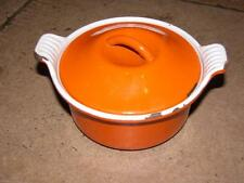 SMALL VINTAGE LE CREUSET DISH VOLCANIC ORANGE 14 WITH LID