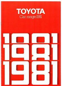 Toyota Range 1981 UK Market Sales Brochure Crown Cressida Celica Corolla Starlet