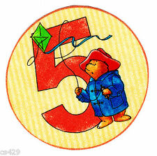 """3.5"""" Teddy bear number #5 kite 5th fifth birthday fabric applique iron on"""