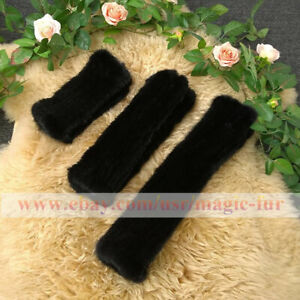 Double Side Real Mink Fur Knitted Fingerless Soft Stretch Gloves Sleeves cuffs