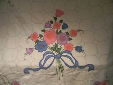 LOVELY VINTAGE APPLIQUED - FLOWER BOUQUET QUILT WITH A THROW PILLOW COVER