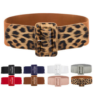 Grace Karin Women's Retro Wide Belt Stretchy PU Leather Buckle Casual Waistband