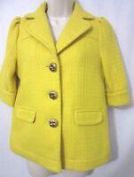Juicy Couture Short Sleeve Woven Textured Wool Jacket/Coat Yellow Women's Size 6