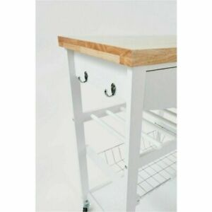 Wooden Kitchen Utility Trolley Cart Drawer 2 Shelves Cabinet Rack White S1