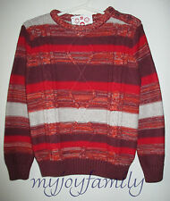 HANNA ANDERSSON Cozy Marled Stripe Cableknit Sweater Red Multi 90 3T 3 NWT