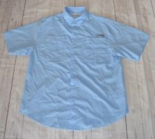 Columbia Pfg Mens Fishing Shirt Solid Blue Short Sleeve Vented Hiking Size M