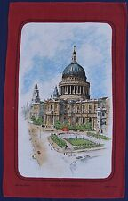 Vintage Retro LINEN COTTON Tea Towel LONDON St.Paul Cathedral Church Souvenir