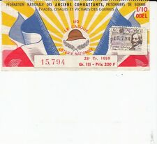 BILLET LOTERIE NATIONALE *FEDERATION  ANCIENS COMBATTANTS*1959 (TIMBRE GALLOT)