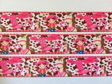 """BB Ribbon COWGIRL AND HER HORSE PINK  2m grosgrain 7/8"""" 22mm girl boots rodeo"""