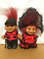 2 Russ Troll Dolls Married Couple Matching Very Cute Red Hair Dressed Trolls