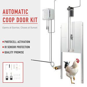 Electric Poultry Door Opener Kit IR Sensor Safety Mechanism 66W Auto Chicken Door and Remote Controls for Smart Home Farm Hen Houses CO-Z Chicken Coop Door Opener and Closer With Light Sensor