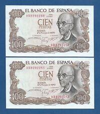 ESPAÑA // SPAIN -- PAREJA 100 PESETAS ( 1970 ) -- UNC -- SERIE DE SUSTITUCION 9B