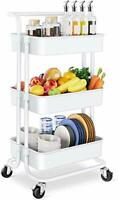 Storage Trolley Cart - 3 Tier Rolling Utility Organizer Rack, Craft Art Cart,