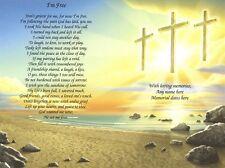 "I'm Free Personalized Three Crosses Memorial Poem Print  8.5""x11"" Ready to Frame"