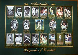 THE LEGENDS OF AUSTRALIAN CRICKET LIMITED EDITION OF 2500 LAMINATED POSTER
