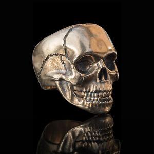 Handmade bronze mens biker skull ring inspired by Iconic Rock Star