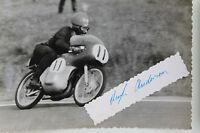27091 Moto Rennen Foto Autografo Hugh Anderson Nuova Zelanda 1962 Suzuki Photo