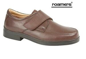 MENS ROAMERS EEE EXTRA WIDE FIT LEATHER ADJUSTABLE BROWN SHOES SIZE 7 - 14