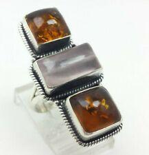 Amber Rose Quartz Gems Sterling Silver 925 Ring 12g Sz.6.75'' TIM906